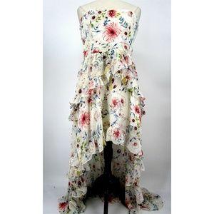 Aqua Luxe Strapless Hi-Low Ruffled Maxi Dress 3357